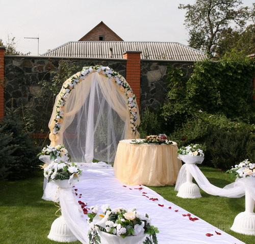Оформление двора на свадьбу фото своими руками