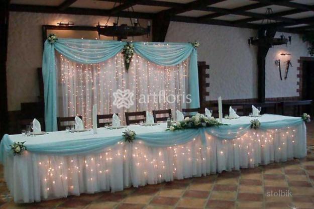 Как украсить свадебный стол тканями