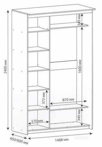 Схема шкафа-купе шириной 1774