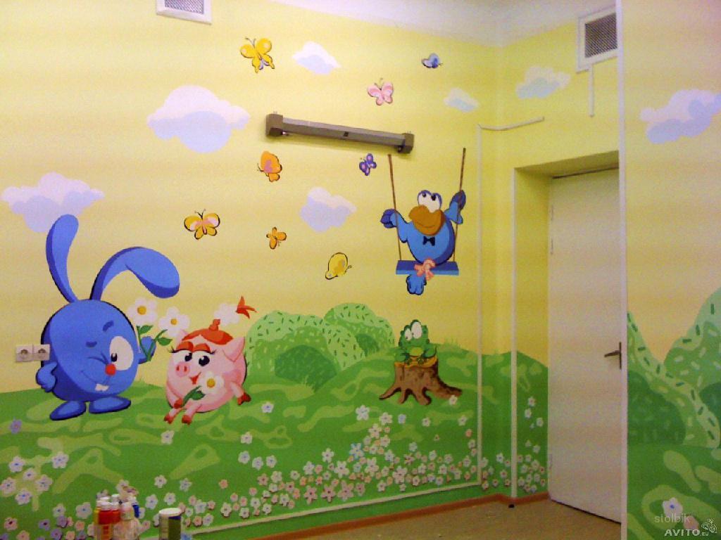 Рисунки на стену детского сада своими руками фото